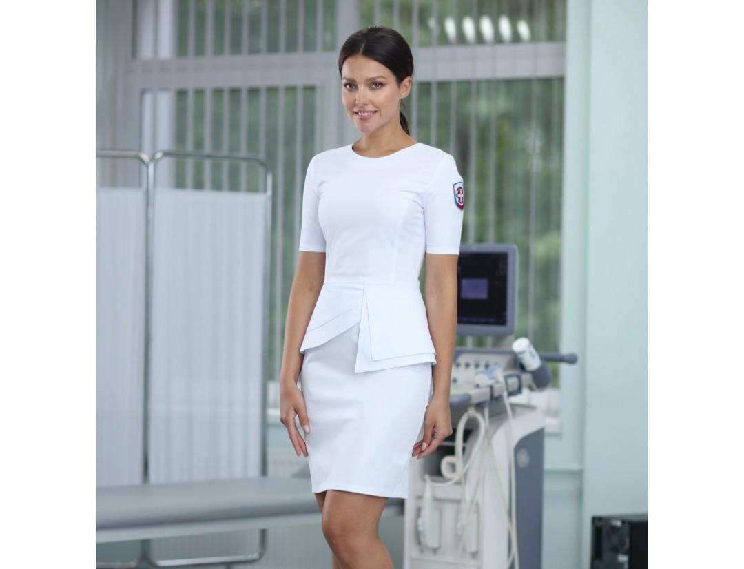 Женское медицинское платье Medical Service (FLEXIMED) с баской 1009